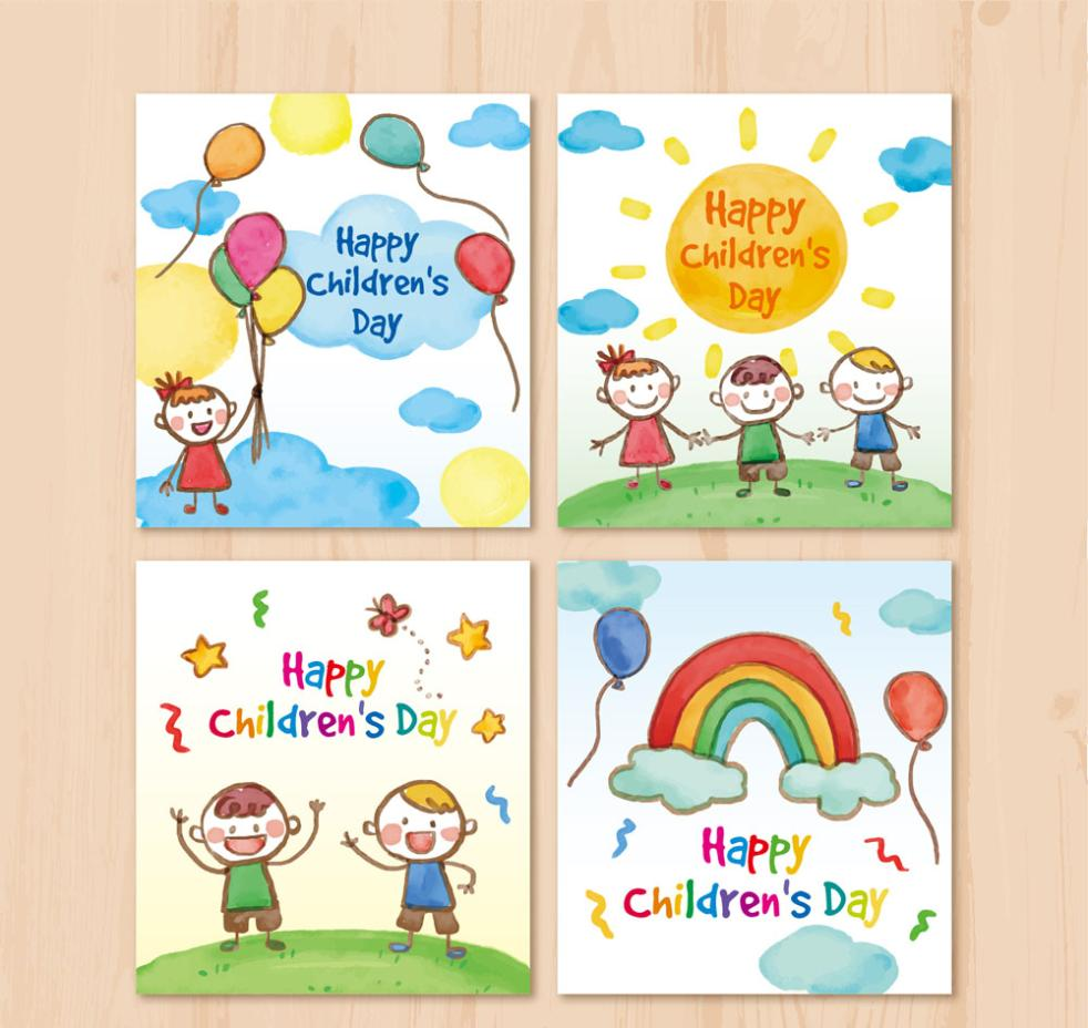 4 Coloured Drawing Or Pattern Is Children's Day Card Vector