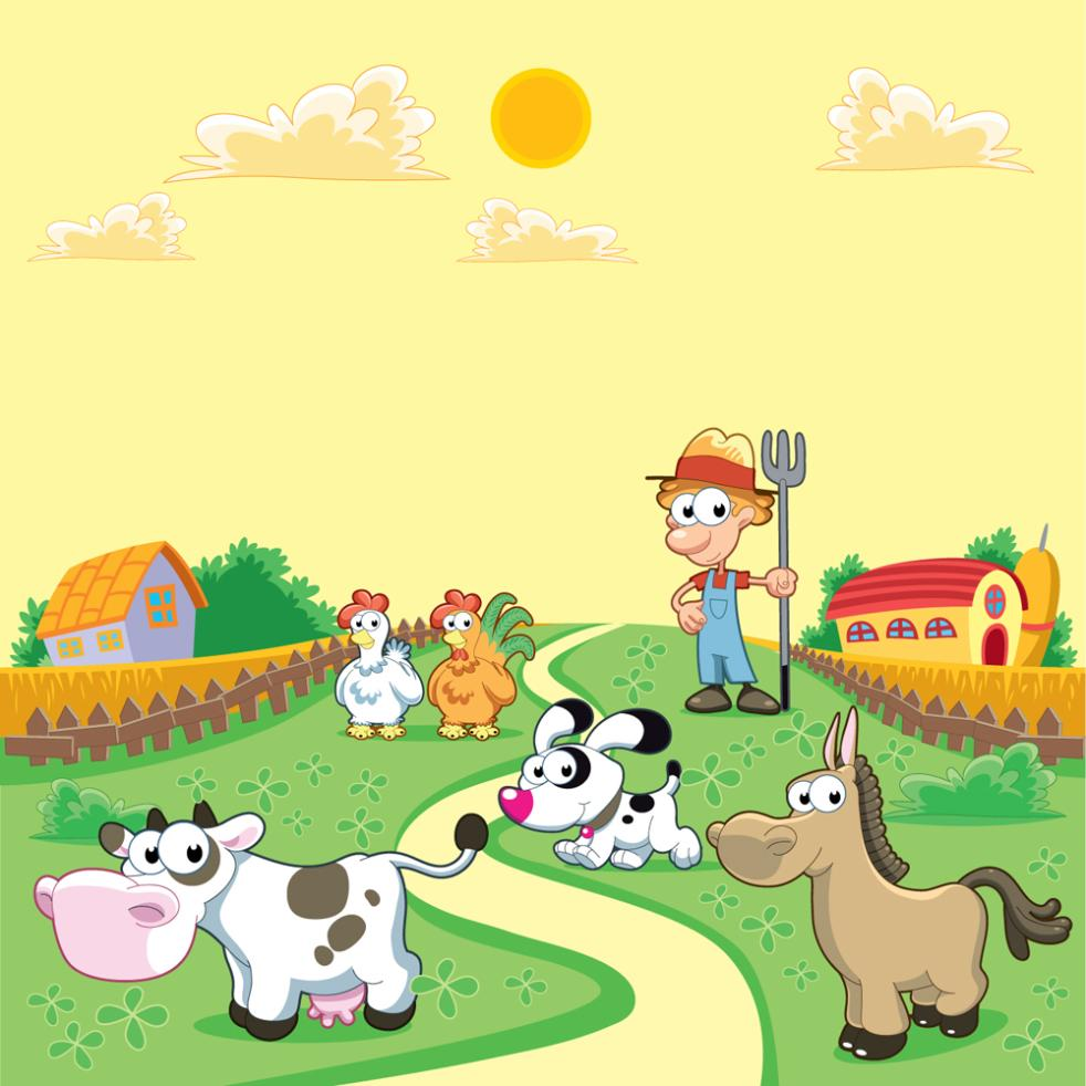 Landscape Cartoon Farm Farmers And Small Animals Vector