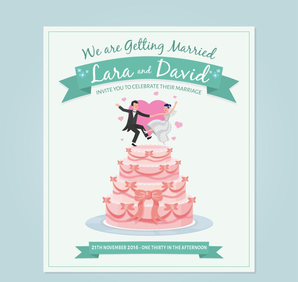 Creative Dancing New Wedding Cake Invitation Cards Vector