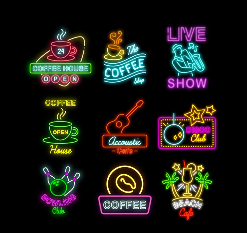 9 Color Neon Signs Vector