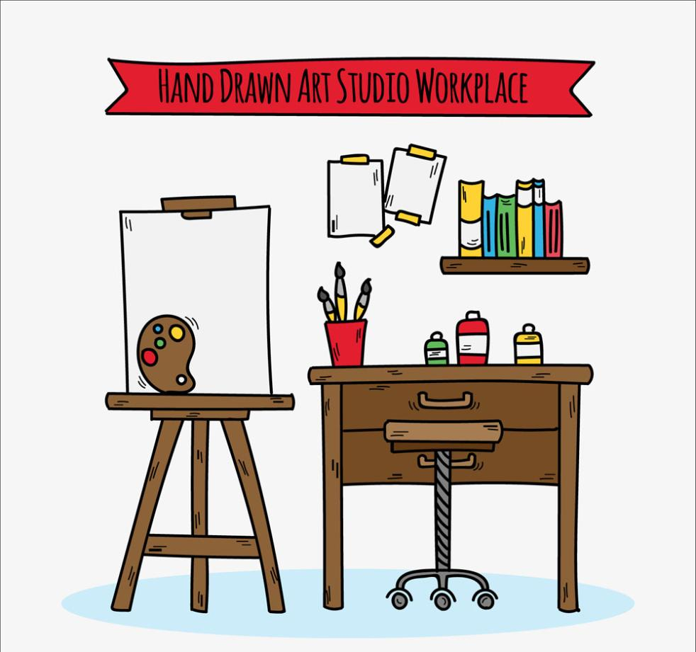 Hand-painted Art Studio Design Vector
