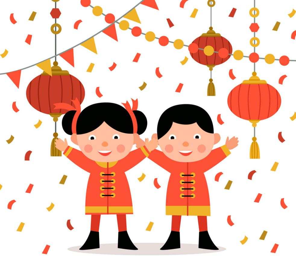 Boys And Girls Lovely Spring Festival Vector