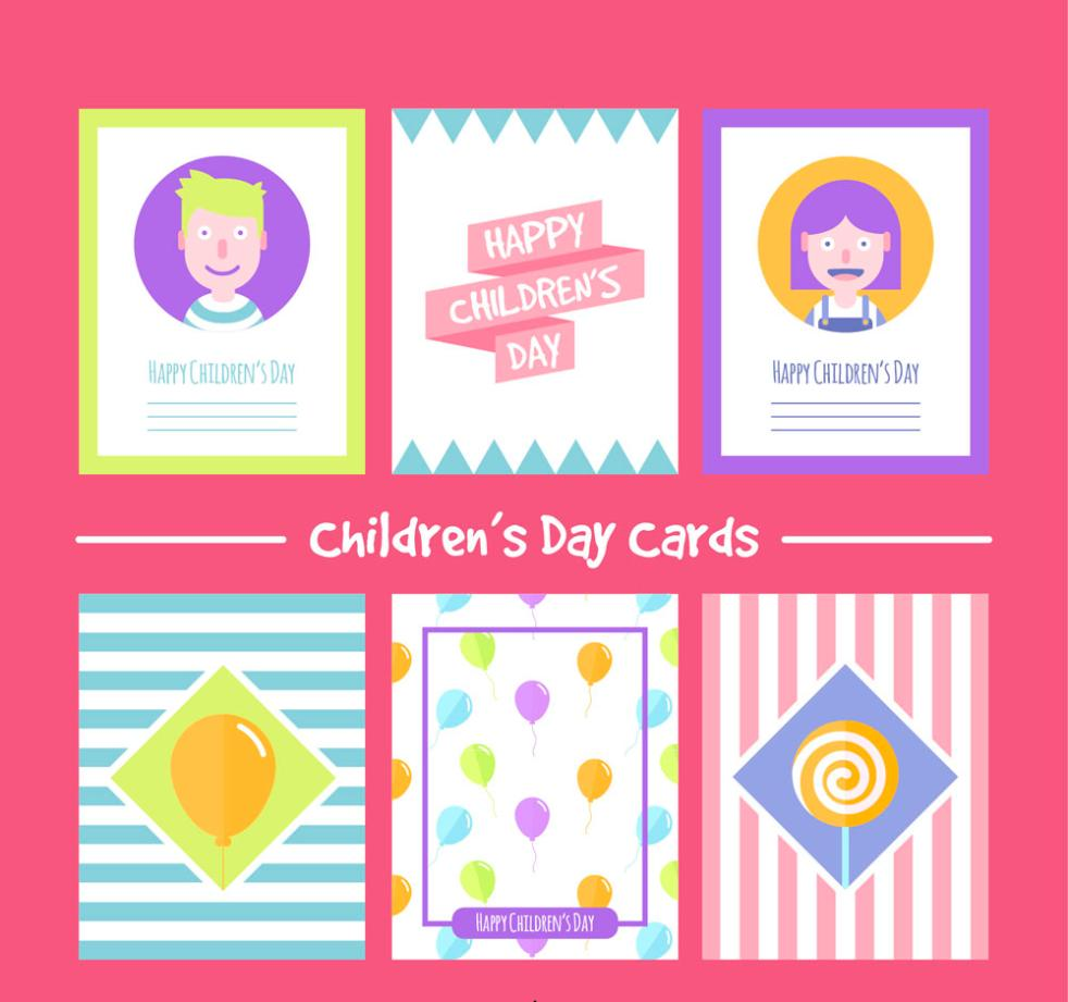 Six Color Children's Day Card Vector
