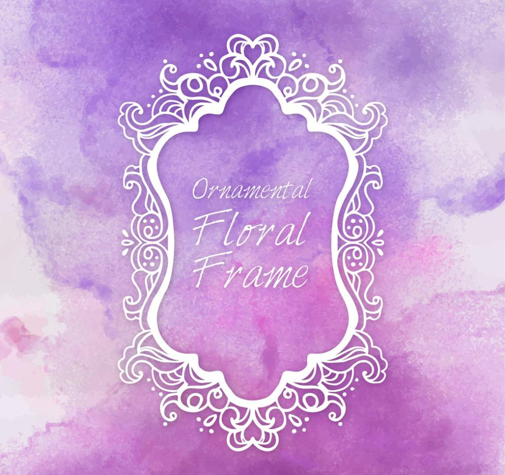 White Pattern Frame Purple Background Vector