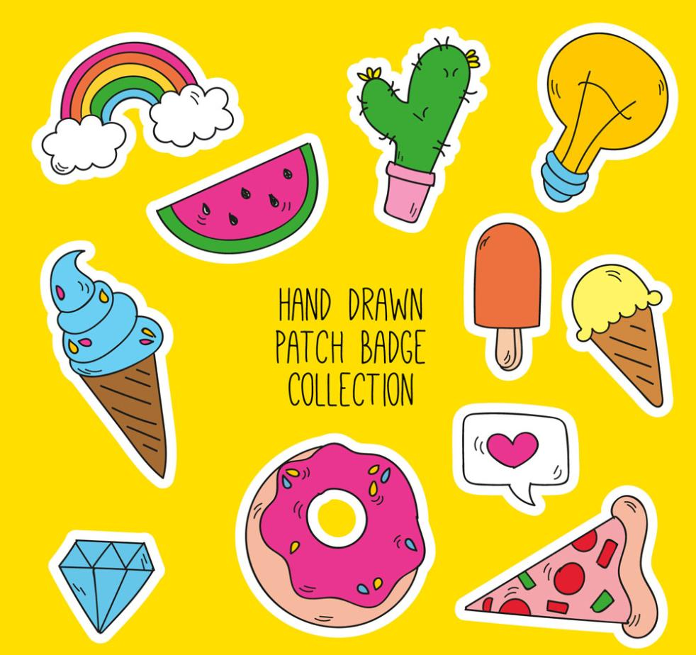 11 Patch Badge Coloured Drawing Or Pattern Vector