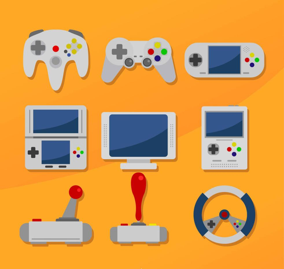 9 Delicate Game Equipment Vector