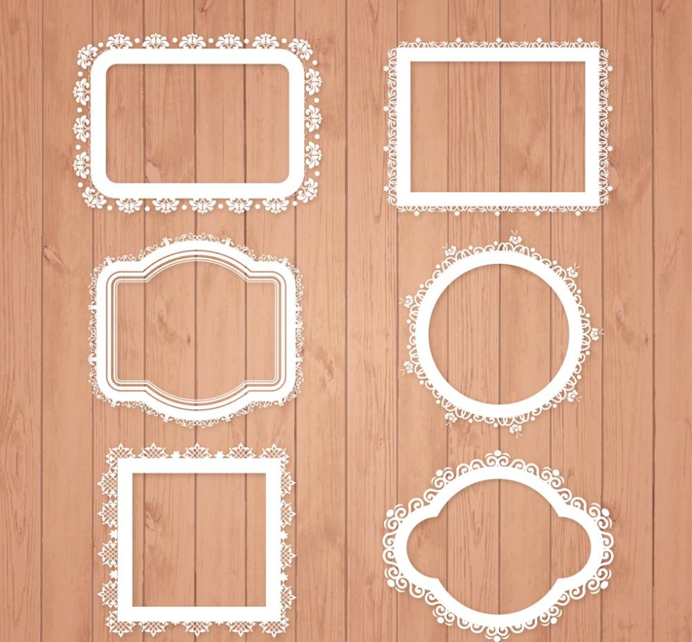 Six White Lace Pattern Framework Vector