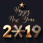 Christmas 2019 Happy New Year one Vector