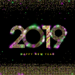 Christmas 2019 Happy New Year three Vector