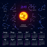Calendar 2019 Zodiacal Constellations Vector