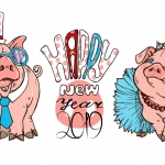 Pig Happy New Year 2019 Vector