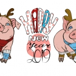 Swine Happy New Year 2019 Vector