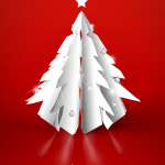 White Paper-cut Christmas Tree 2019 Vector