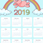 Rainbow Little Fat Pig New Year Calendar 2019 Vector