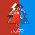 Colored paper-cut Christmas tree 2019 Vector