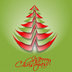 Red and Green Mixed Paper Triangle Christmas Tree 2019 Vector