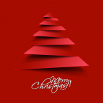Red Paper-cut Christmas Tree 2019 Vector