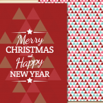 Red Triangle Christmas Card 2019 Vector