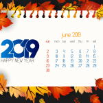 Red Leaf Decorative New Year Calendar 2019 Vector