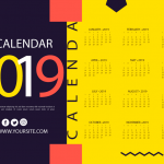 New Year's Calendar with Yellow Floor 2019 Vector