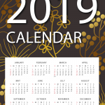 Golden Flowers New Year Calendar 2019 Vector