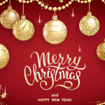 Golden Balloon Decoration Christmas 2019 Vector