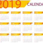 Orange New Year Calendar 2019 Vector