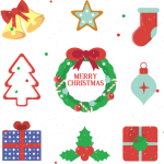 Cartoon Christmas wreath 2019 Vector