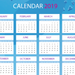 Blue and white with New Year's calenda 2019 Vector
