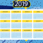 Blue Spotted New Year Calendar 2019 Vector