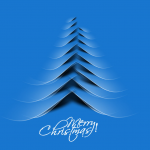 Blue Line Christmas Tree 2019 Vector