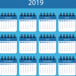 Blue New Year Calendar 2019 Vector