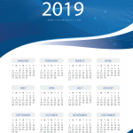 New Year's Calendar with Blue Rotary Patterns 2019 Vector