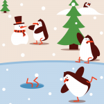 Penguins Happy Christmas  2019 Vector