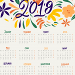 Soft Cartoon Flowers New Year Calendar 2019 Vector