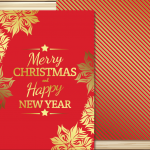 Christmas Red Lace cards 2019 Vector