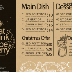 Christmas Price List 2019 Vector