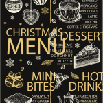 Christmas coffee shop price list 2019 Vector
