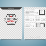 Christmas Cartoon Style Menu 2019 Vector