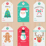 Cartoon labels for Christmas messages 2019 Vector