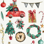 Christmas Cartoon Car Gifts 2019 Vector