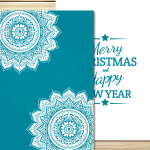 Christmas Blue Lace Card 2019 Vector