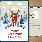 Gifts from Christmas Deer on a Snowy Day 2019 Vector