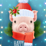 Little pig for Christmas 2019 Vector