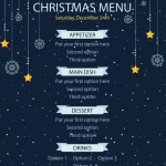 Christmas display menu sales 2019 Vector