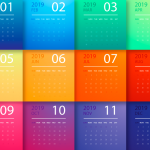 Twelve-color New Year's Calendar 2019 Vector