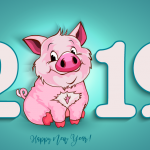 Little pig Christmas 2019 Vector