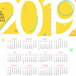 New Year's Yellow Calendar 2019 Vector