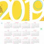 New Year's Yellow Calendar 2019 Vector