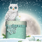 Owls in the snow at Christmas 2019 Vector